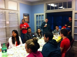Student leaders from groups such as the Latino Council and Lambda Upsilon Lambda Fraternity Inc. gather for dinner with NAHJ members at La Casa.