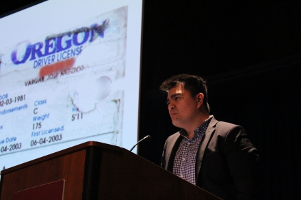 Jose Antonio Vargas addresses the audience during the IU Media School Speaker Series at Whittenberger Auditorium.